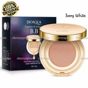 Bioaqua Exquisite and Delicate BB Cream Air Cushion Pack Gold Case SPF 50++ Foundation Make Up Wajah Bersih - Ivory White 15gr