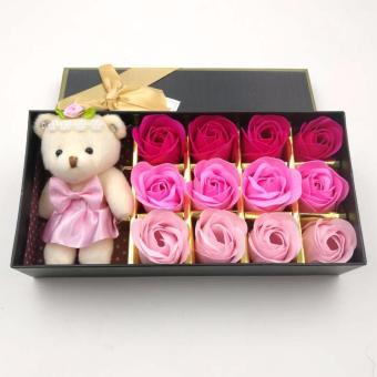Effie Flower-Gift Box Doll+12pc Bunga Mawar Fragrance Flower Rose (Pink Ombre
