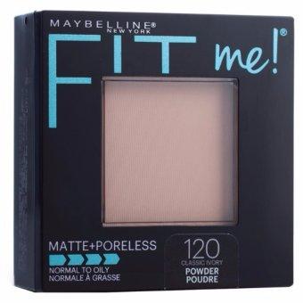 Maybelline Fit Me Matte + Poreless Powder Bedak Padat Two Way Cake - 120 Classic Ivory