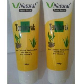 ... V Natural Temulawak Extract Facial Foam Pembersih Wajah Bermutu 100gr x 2pc