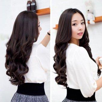 Lebar 25 cm dan panjang keriting dan bergelombang wanita y klip pada ekstensi Rambut Coklat gelap