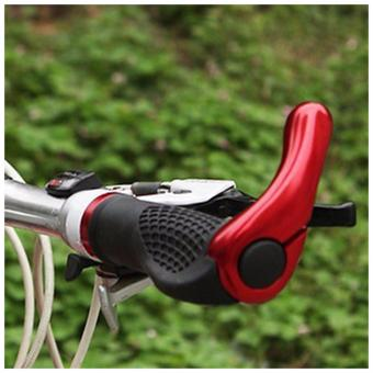 Ergonomic Design Antiskid Shockproof Bicycle Handlebar Grips with Aluminum Alloy Bar Ends (Red) -