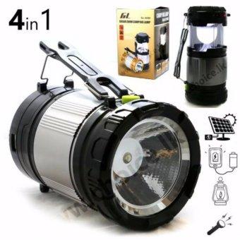 Lentera camping Rechargeable Light 6 LED dengan Senter/ Lampu Camping Tenaga Solar - 611/