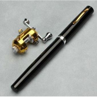 Mini Telescopic Portable Pocket Aluminum Alloy Pen Fishing Rod Pole Reel Black Fibre Glass Aluminium Alloy