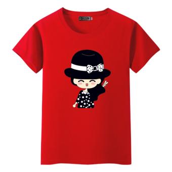 12 Korea Modis Gaya Remaja Anak Perempuan Lengan Pendek Atasan Kaus (Merah) Baju Wanita