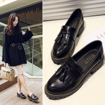 2017 New Spring Autumn British Style Casual Flats Women Shoes Solid Fringe Ladies Tassel Loafers Slip-On Single Shoes L17195 (Black) - intl