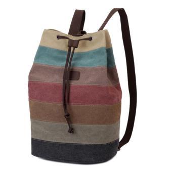 360DSC tas serut ransel kanvas wanita bergaris multi-warna - internasional  - Internasional 84a73181c4