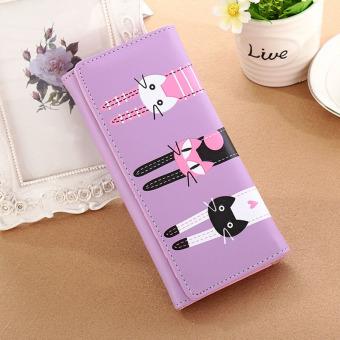 Amart kucing kartun pemegang kartu dompet kulit dompet koin (ungu)- International