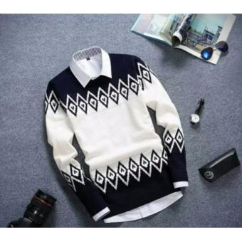 Azam Clobber Sweater Pria Rajut Zeru Sweater Rajut Tribal Navy .