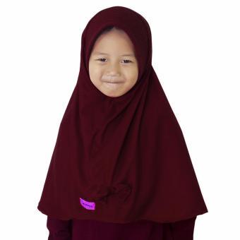 Bajuyuli - Kerudung Jilbab Anak Murah Polos Pita Cantik Marun Burgundi