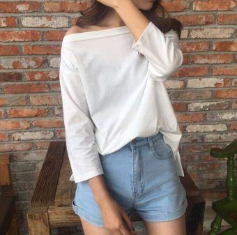 Bft Kemeja Korea Fashion Style Warna Solid Atasan Seksi Siswa (Putih) baju wanita baju