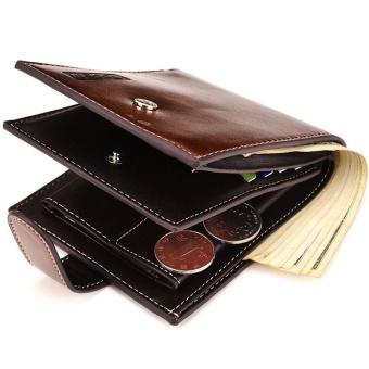 Bogesi Pria Pendek Kasual Multi Card Bit Kulit Dompet Koin Dompet Coklat  -Internasional dbc46d6c21