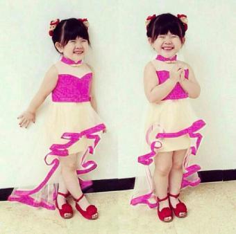 BT10855 Pink Polos Naca Mermaid Kids Dress