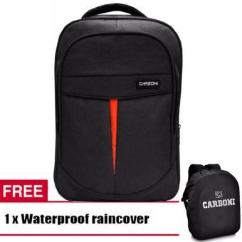 Carboni Backpack Tas Ransel Laptop Seris MA001 17 -Balck Original +  Raincover Waterproop 84f7b69313