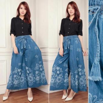 ... Show 2nd Red Basic Denim Navy 124193 Newest Model Specifications Source Celana kulot jeans panjang wanita
