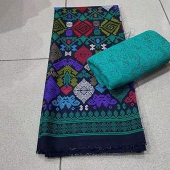cherry - setelan kain satin batik piramida uk. 2mtr dan brokat lembaran uk. 1.5