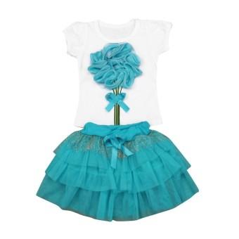 CNB2C Bunga Bayi Anak-anak Perempuan Gaun Lengan Pendek T-shirt + Rok Pakaian