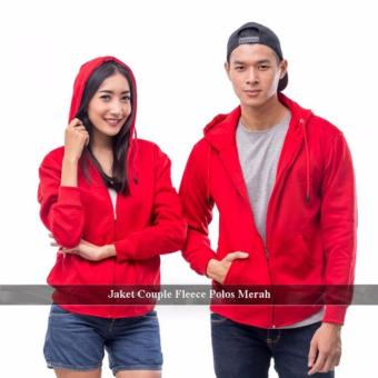 Distributor Jaket Couple - Sweater Couple Online - Jaket Couple Polos Merah Fleece