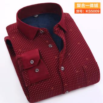 Ditambah beludru tebal pria setengah baya kemeja lengan panjang yang hangat baju kemeja (KS5009)