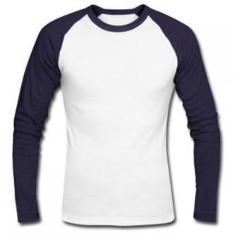 Divajaya shop-T-Shirt - Kaos Reglan Lengan Panjang () Putih Navy