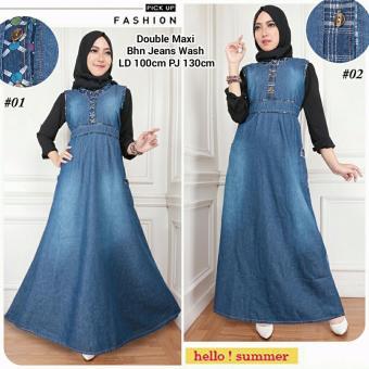 Dress maxi jeans gamis kaftan wanita jumbo long dress Azahra - 02