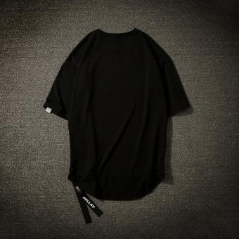 Kaos Oblong Pria atau Wanita Lengan Bang Pendek Panggul Hop Ukuran Besar ( Hitam) Baju