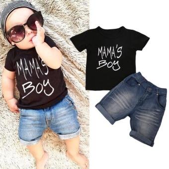 Fashion Balita Kid Baby Boy Baju T-shirt-nya Differences Denim Shorts Pants 2