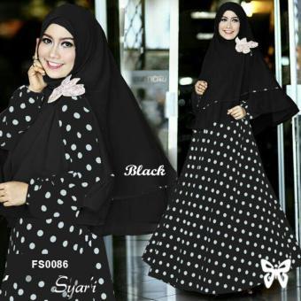 Flavia Store Gamis Syari Set 2 in 1 Onde FS0086 - HITAM / Baju Muslim Wanita