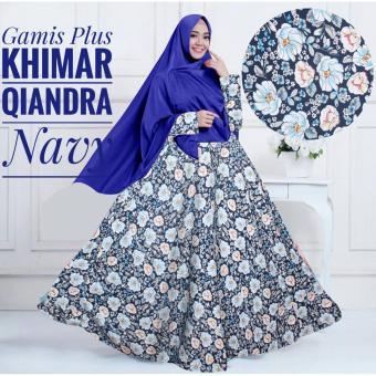 Gamis Baloteli Syari Murah / Gamis Maxi Dress Baloteli Qiandra Plus Khimar Warna Navy / Gamis