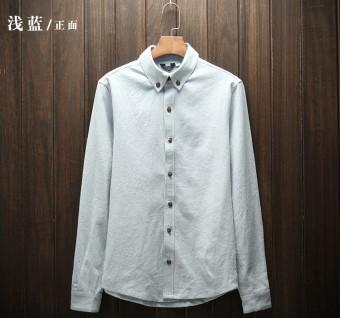 Kemeja Putih Gaya Jepang Sepatu Linen Kemeja Korea Modis Gaya Kain Linen  Warna Polos Pria Musim f4a2fbe081