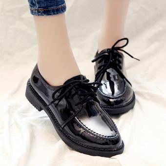 Harajuku Ala Inggris Kulit Paten Musim Semi Perempuan Baru Sepatu Sepatu  Wanita (Hitam Warna Papan 26b13a69ec