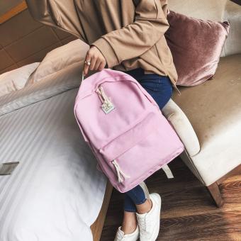 Harajuku Korea Fashion Style Kanvas Warna Solid Perempuan Tas Ransel Siswa Tas (Pada Kecambah Tiga