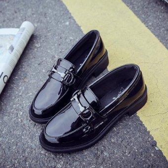 Harajuku Wanita Inggris Baru Musim Semi Retro Sepatu Kulit Kecil Sepatu ( Hitam) 7dd5592357