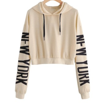 Hequ Women Fashion Casual Loose Punk Hooded Hoodie Long Sleeve Stylish Crop Top Spring Autumn Thin