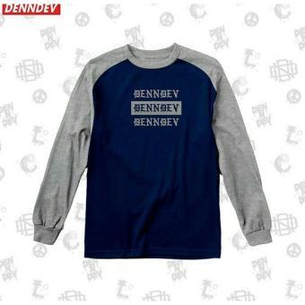 High5 Fashion Pria Kaos Lengan Panjang TRIPLE DENNDEV LONG Navy blue