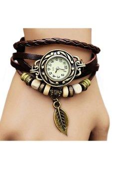Sanwood Women Coklat Kulit Strap Perhiasan