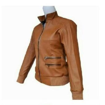 Jaket Wanita Semi Kulit Premium CWSK03C Coklat