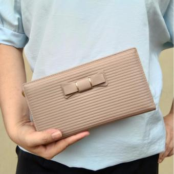 JCF Multifungsi Dompet Clutch Wanita Fashion Branded PU Leather Import - Alice Light Brown Bagus Dan Mewah