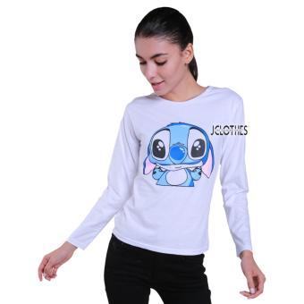 JCLOTHES Tumblr Tee / Kaos Cewe / Kaos Lengan Panjang Wanita Blue Rabbit - Putih