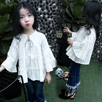 Kasual Musim Semi atau Musim Gugur Baru Tujuh Poin Tanduk Lengan Kemeja Gadis Kaus (Putih