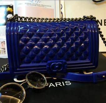 Kecil Harum Eropa Dan Amerika Berlapis Rantai Permen Berwarna Silikon Tas Tas Jelly (Besar biru