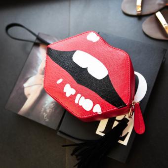 Harajuku Tas Rumbai Imut Perempuan Tas Bahu Korea Fashion Style (Merah)