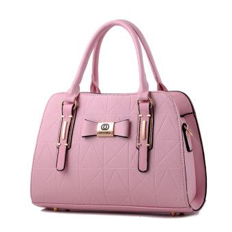Korea Fashion Style Setengah Baya Ibu Bahu Selempang Miring Tas Besar Tas Wanita (Merah Muda
