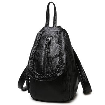 Korea Fashion Style kulit lembut wanita tas ransel perempuan tas ransel (E-0793 anyaman