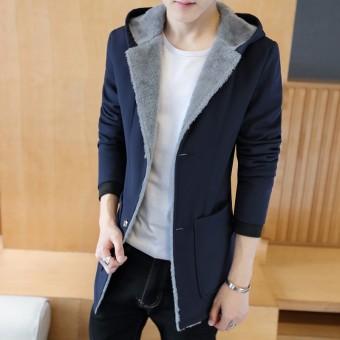 Jaket Windbreaker Pria Bertudung Model Setengah Panjang Ditambah Beludru Versi Korea (Biru Tua) (