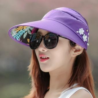 Topi Matahari Korea Fashion Style Musim Panas Topi Pantai Kasual (Deep  Purple) 22aa049d60