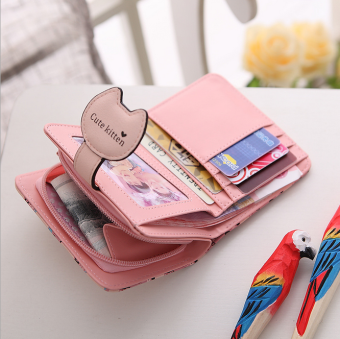 Korea Fashion Style perempuan Mini lipat dompet kecil dompet (Ungu)