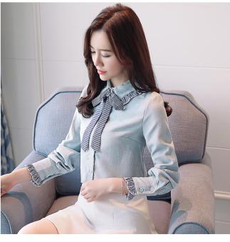 Korea Modis Gaya Wanita Baru Lengan Panjang Kemeja Kemeja (Biru Muda)