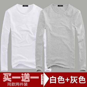 Korea Modis Gaya Warna Polos Pria Lengan Panjang Kaus Baju Dalaman (Leher Bulat Putih +
