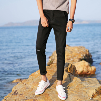 Korean-style men's Spring and Autumn New style pants cowboy pants (Hitam)